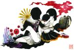 absurdres backpack bag black_hair flower fuji_vol.2 highres japan jump_rope multiple_girls on_ground original randoseru rising_sun school_uniform short_hair simple_background skirt sun tied_up wallpaper
