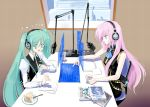 book cake cup food fork hatsune_miku headphones holographic_interface jajanuba long_hair megurine_luka microphone monitor multiple_girls necktie paper pastry pixiv pointing radio_booth studio_microphone teacup twintails vocaloid