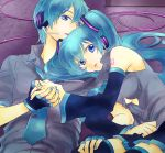 aqua_hair detached_sleeves fingerless_gloves genderswap gloves hand_holding hatsune_miku hatsune_mikuo headphones headset holding_hands kuronomine long_hair necktie twintails vocaloid