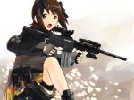 assault_rifle bow call_of_duty call_of_duty:_modern_warfare_2 elbow_pads fingerless_gloves ganzyu_i gloves gun holster idolmaster m4 m4_carbine operator rifle scope thigh_holster trigger_discipline vertical_foregrip weapon