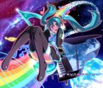 aqua_hair blue_eyes boots detached_sleeves earth face grand_piano hands_on_headphones hatsune_miku headphones headset instrument legs long_hair musical_note navel necktie pairan piano rainbow skirt smile solo space thigh-highs thigh_boots thighhighs twintails vocaloid zettai_ryouiki