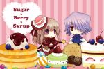 1boy 1girl brown_hair cake candy checkerboard_cookie chocolate cookie couple dress food food_themed_clothes formal hair_over_one_eye hat kuroe_(sugarberry) long_hair macaron oversized_object pancake pandora_hearts pastry ponytail purple_eyes red_eyes ribbon sharon_rainsworth silver_hair syrup xerxes_break