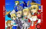 5girls animal_costume armor artoria_pendragon_(all) blonde_hair dark_saber emiya-san_chi_no_kyou_no_gohan fate/extella fate/extra fate/grand_order fate/hollow_ataraxia fate/stay_night fate/unlimited_codes female food girl green_eyes human lion_costume multiple_girls multiple_persona nero_claudius_(fate)_(all) pocky robot saber saber_extra saber_lily saber_lion sword tagme type-moon weapon
