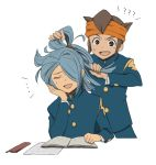 2boys blue_hair book brown_eyes brown_hair closed_eyes combing duo endou_mamoru hairband inazuma_eleven kazemaru_ichirouta male open_mouth school_uniform short_hair shota simple_background sitting white_background