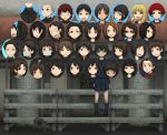 6+girls bangs black_eyes black_hair bleachers blonde_hair bob_cut brown_eyes brown_hair buzz_cut expressionless face gas_mask graduation looking_at_viewer mask miniskirt multiple_boys multiple_girls not_present open_mouth original photo_(object) pleated_skirt portrait red_hair redhead school_uniform seifuku serafuku skirt smile solo standing sunglasses surprised swept_bangs tongue tongue_out yajirushi_(chanoma)