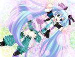 blue_eyes blue_hair crossover green_hair hatsune_miku kneehighs long_hair ribbons shugo_chara! skirt necktie twintails vocaloid