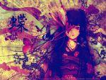 black_hair blood butterfly enma_ai flower japanese_clothes jigoku_shoujo jpeg_artifacts kimono leaves long_hair red_eyes watermark yoshitoshi_abe