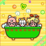 bath bathtub bubble_bath chaozu chibi dragon_ball dragon_ball_z lunch_(dragon_ball) tenshinhan