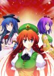 blue_eyes blue_hair braid breasts food fruit hat hieda_no_akyuu hinanawi_tenshi hong_meiling impossible_clothes impossible_shirt japanese_clothes kiku_hitomoji long_hair multiple_girls peach purple_eyes purple_hair red_eyes red_hair redhead shirt short_hair touhou violet_eyes