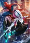 1boy 1girl \m/ artist_name blurry bodysuit breasts building city commentary_request depth_of_field headphones highres hood lens_flare marvel midair nudtawut_thongmai outstretched_arms silk skyscraper spider-gwen spider-man spider-man_(series) spider_web spider_web_print superhero toned wind