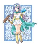 blue_hair breasts cape chino_y circlet detached_sleeves dragon_quest dragon_quest_iii long_hair sage_(dq3) skirt slime_(dragon_quest) staff wink