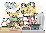 animal_ears chen chopsticks cooking food futatsuiwa_mamizou hounori kemonomimi_mode leaf leaf_on_head multiple_girls raccoon_ears raccoon_tail shrimp shrimp_tempura tail tanuki tempura touhou yakumo_ran yakumo_yukari