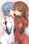 ayanami_rei blue_eyes blue_hair blush bodysuit breast_press breasts brown_hair hands holding_hands long_hair multiple_girls neon_genesis_evangelion plugsuit red_eyes short_hair skin_tight souryuu_asuka_langley symmetrical_docking tawara_hiryuu