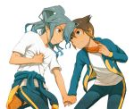 2boys androgynous blue_eyes blue_hair endou_mamoru hair_over_one_eye hand_holding headband inazuma_eleven jacket kazemaru_ichirouta yaoi