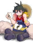 androgynous artist_request black_hair boots eating food fu_(oufu) hat jumpsuit makoto muscle street_fighter street_fighter_iv tomboy