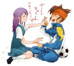 endou_mamoru inazuma_eleven kudou_fuyuka playing purple_hair uniform
