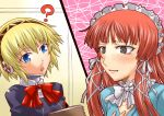 aegis android blonde_hair blue_eyes blush bow headband lolita_fashion persona persona_3 red_hair redhead ribbon segami_daisuke sweatdrop yoshino_chidori