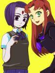 2girls dc_comics female green_eyes grey_skin long_hair nobumichi purple_hair raven_(dc) redhead school_uniform short_hair starfire teen_titans uniform violet_eyes