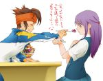 date endou_mamoru hair ice-cream inazuma_eleven kudou_fuyuka purple uniform