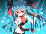 blue_hair bracelet casual collar earrings elbow_gloves fashion gloves grin hair_ribbon hatsune_miku hiiro_(kikokico) hime_cut jewelry long_hair microphone microphone_stand necklace red_eyes ribbon ring smile smirk solo spiked_bracelet spikes striped twintails vocaloid