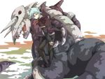 aggron cravat formal gline_(pixiv) green_eyes jewelry looking_back male pokemon pokemon_(game) riding ring silver_hair smile solo tsuwabuki_daigo wind