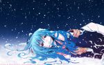 eretto food fruit hat highres hinanawi_tenshi long_hair lying on_side peach red_eyes signed snow snowing solo touhou wallpaper