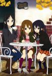absurdres akiyama_mio black_eyes black_hair brown_eyes brown_hair casual drink highres hirasawa_yui horiguchi_yukiko k-on! long_hair megami multiple_girls nakano_azusa official_art short_hair socks twintails very_long_hair