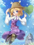 blonde_hair blue_eyes colored_eyelashes eyelashes eyes frog hand_on_hat hat heart leaf loafers looking_back mondo moriya_suwako open_mouth pantyhose rain running shoes short_hair smile statue stoen touhou water_drop