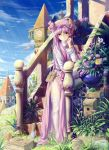 bespectacled bird book clock clock_tower cloud clouds flag flower garter_belt garter_straps glasses grass hat highres long_hair outdoors patchouli_knowledge purple_eyes purple_hair ribbon saber_01 shiny shiny_skin side_slit sky solo stairs sunbeam sunlight thigh-highs thighhighs touhou tower very_long_hair violet_eyes