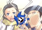 against_glass black_hair blue_eyes brown_eyes crane_game failure hat iori_junpei jack_frost male mochizuki_ryouji multiple_boys persona persona_3 plush scarf segami_daisuke sweatdrop toy