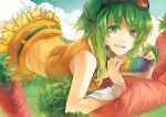 clouds goggles goggles_on_head grass green_eyes green_hair gumi headphones headset lying open_mouth rahwia rainbow short_hair skirt smile solo vocaloid wrist_cuffs