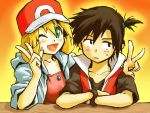1girl :d alternate_hairstyle annoyed badge black_hair blonde_hair blush cascade_badge cosplay double_v green_eyes gym_badge gym_leader_badge hat hoodie kasumi_(pokemon) kasumi_(pokemon)_(cosplay) kasumi_(pokemon)_(hgss) open_mouth pokemon pokemon_(game) pokemon_gsc red_(pokemon) red_(pokemon)_(cosplay) sei_jun side_ponytail smile sweatdrop v wink