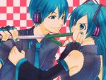 blue_hair checkered checkered_background detached_sleeves dual_persona feeding fingerless_gloves force_feeding genderswap gloves hatsune_miku hatsune_mikuo kuronomine necktie spring_onion twintails vocaloid