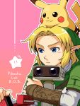 1boy artist_request blonde_hair blue_eyes earrings hat hug hug_from_behind jewelry link pikachu pointy_ears pokemon pokemon_(creature) r.o.b r.o.b. star super_smash_bros. the_legend_of_zelda