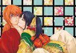 blue_hair couple closed_eyes female himura_kenshin japanese_clothes kamiya_kaoru kimono long_hair male orange_hair ponytail ribbon rurouni_kenshin shin_(artist) violet_eyes
