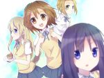 az_(shotatteiiyone) blonde_hair blue_eyes brown_eyes brown_hair cake food hirasawa_yui k-on! kotobuki_tsumugi long_hair pastry purple_hair school_uniform short_hair tainaka_ritsu