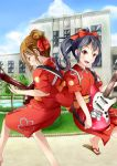 2girls alternate_hairstyle black_hair brown_eyes brown_hair guitar hair_bun hirasawa_yui instrument k-on! long_hair miro_(mmmyyyy) multiple_girls nakano_azusa ponytail short_hair yutaka