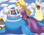 1girl blonde_hair blue_eyes breasts hug ice lowres pokemoa pokemon pokemon_(creature) pokemon_(game) pokemon_rse prim_(pokemon) sealeo snorunt spheal walrein