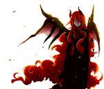 demon grey_skin highres horns lips long_hair monster_boy red_hair redhead rita_(artist) seisen_no_iberia shaytan simple_background sound_horizon very_long_hair wings