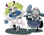 anorak belt blonde_hair bloomers character_request demon_girl eyepatch gloves green_eyes heterochromia horns zombie zombie_girl