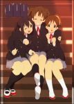 black_legwear black_socks blazer bow brown_eyes brown_hair closed_eyes grin hirasawa_ui hug k-on! kneehighs mizuki_makoto multiple_girls nakano_azusa ponytail school_uniform shoes short_twintails sitting smile socks sole_of_shoe suzuki_jun twintails uwabaki wink
