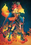 blonde_hair boots demon_girl fire gradient_hair highres horns japanese_clothes juuden kimono long_hair multicolored_hair orange_hair original red_hair solo succubus