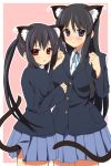 akiyama_mio animal_ears black_hair blue_eyes blush cat_ears cat_tail k-on! kinosaki_yuki multiple_girls nakano_azusa red_eyes school_uniform skirt tail