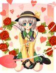 flower green_eyes hat heart komeiji_koishi open_eyes rose short_hair silver_hair solo touhou yamasan