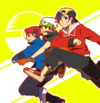 3boys black_hair gold_(pokemon) grin hat jacket jumping kouki_(pokemon) pokemon red_eyes smile yuuki_(pokemon)
