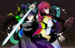 2boys black_hair green_eyes hiei highres kurama long_hair red_eyes redhead sword weapon yu_yu_hakusho