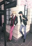 2boys barnaby_brooks_jr blonde_hair brown_hair cabbie_hat cellphone cherry_blossoms facial_hair hat jacket kaburagi_t_kotetsu multiple_boys phone scarf stubble tiger_&_bunny yui_(nightflight)
