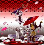 cherry_blossoms drift jazz_(transformers) mist ninja oriental_umbrella prowl robot sword transformers transformers_animated umbrella weapon