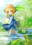 eyes frog hat leaf lily_pad moriya_suwako open_mouth short_hair signature siukaukau siukaukau24 smile touhou wading yellow_eyes
