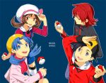 2girls alternate_costume backwards_hat bike_shorts black_hair blue_eyes blue_hair brown_eyes brown_hair cabbie_hat crystal_(pokemon) english gold_(pokemon) gold_(pokemon)_(remake) grey_eyes hat hat_tip holding holding_poke_ball hoodie jacket kotone_(pokemon) looking_up multiple_boys multiple_girls obo open_mouth overalls poke_ball pokemon pokemon_(game) pokemon_gsc red_eyes red_hair redhead silver_(pokemon) silver_(pokemon)_(remake) silver_eyes simple_background smile thigh-highs thighhighs turtleneck twintails white_legwear white_thighhighs